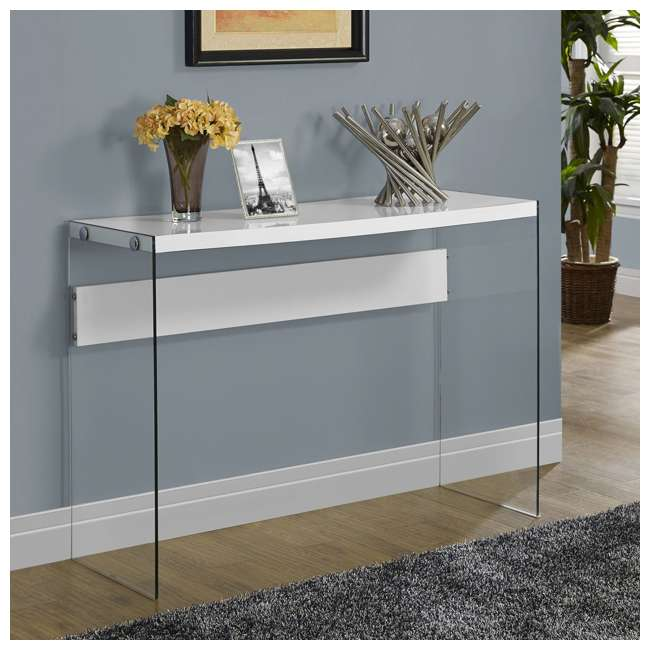 VM-3288-U-A Monarch Specialties Console Table w/ Tempered Glass, White (Open Box) (2 Pack) 1