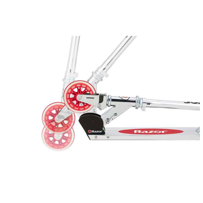 13014360 Razor A3 Kids Folding Aluminum Portable Scooter with Wheelie Bar, Red (2 Pack) 3