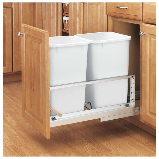 5349-1527DM-2 Rev-A-Shelf 5349-1527DM-2 Double 27 Quart Base Cabinet Pull Out Waste Container