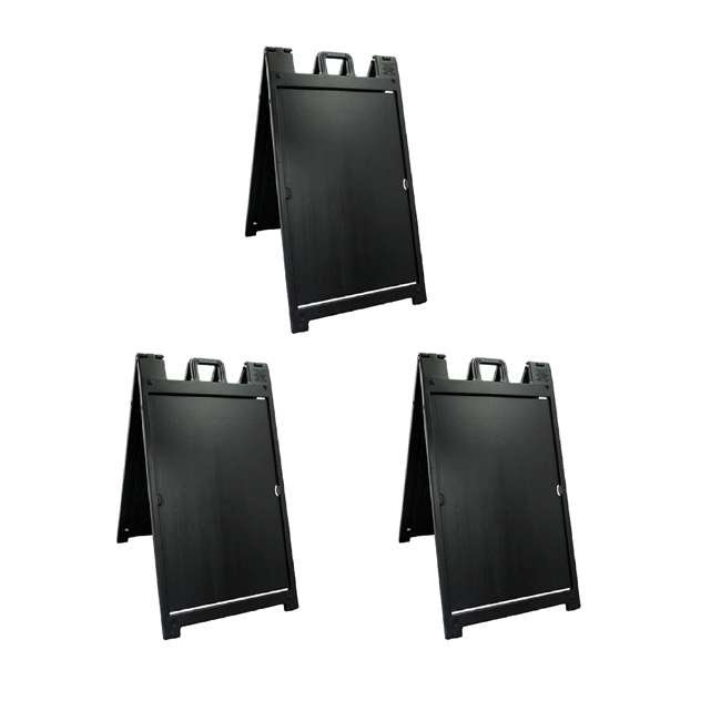 3 x 140NSBK Plasticade Deluxe Signicade Double-Sided Sign Stand, Black (3 Pack)