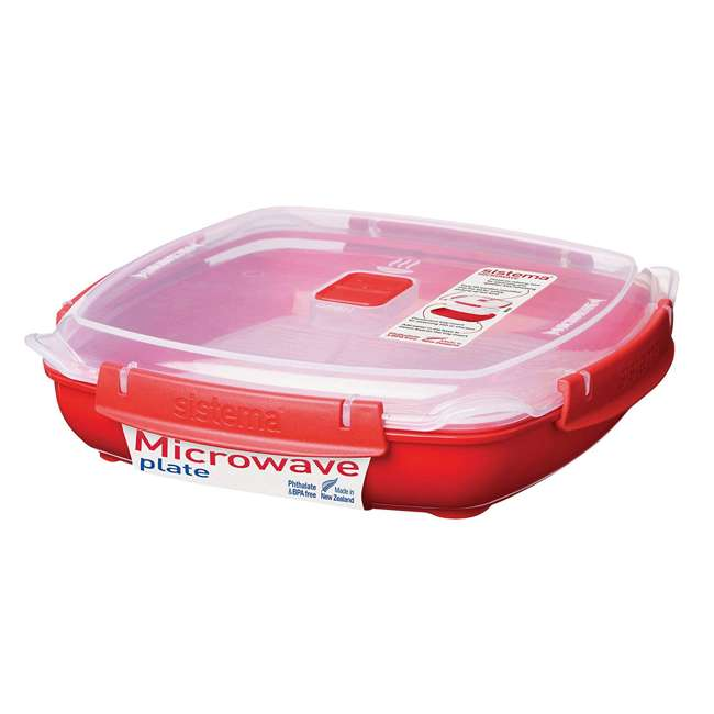 Sistema-1106ZS Sistema Large Microwave Collection Plate w/ Steaming Rack, Red 5