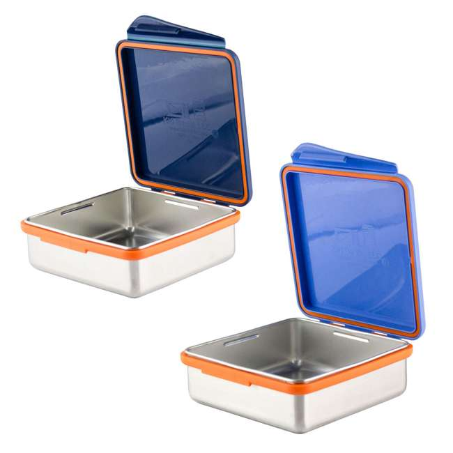 894148002794 + 796515002881 Kid Basix Safe Snacker 23 Ounce Stainless Steel Kids Lunch Boxes, Blue (2 Pack)
