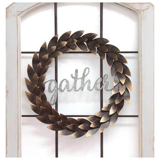 S15034 Stratton Home Decor Gather Bronze Wreath Window Wall Decor, Distressed White 4