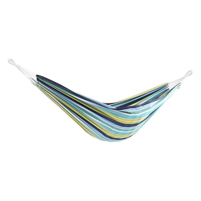BRAZ130 Vivere Brazilian Style Cotton One Person Outdoor Patio Hammock, Plumeria (Used) 5
