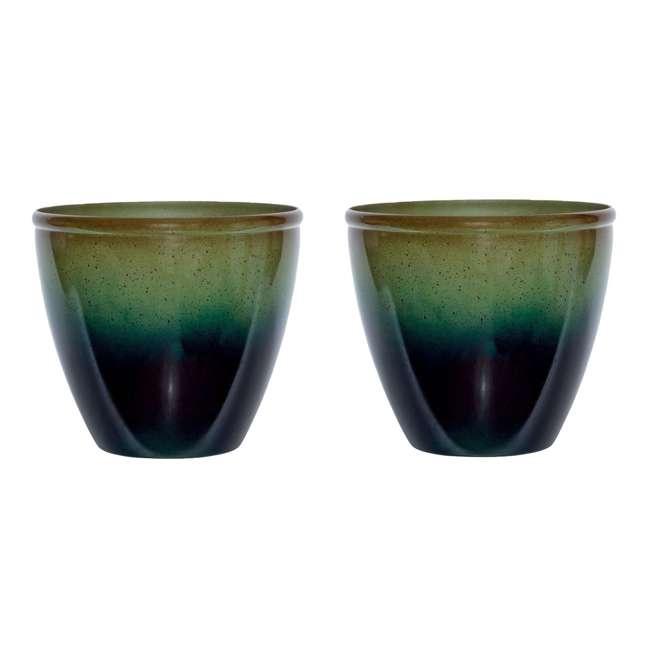 "1606GP36 Suncast Seneca 16"" Ombre Resin Plant Flower Planter Pot, Green/Blue (2 Pack)"