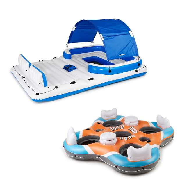 43105E-BW + 43115E-BW Bestway CoolerZ Tropical Breeze 6 Person Floating Island with 4 Person Island