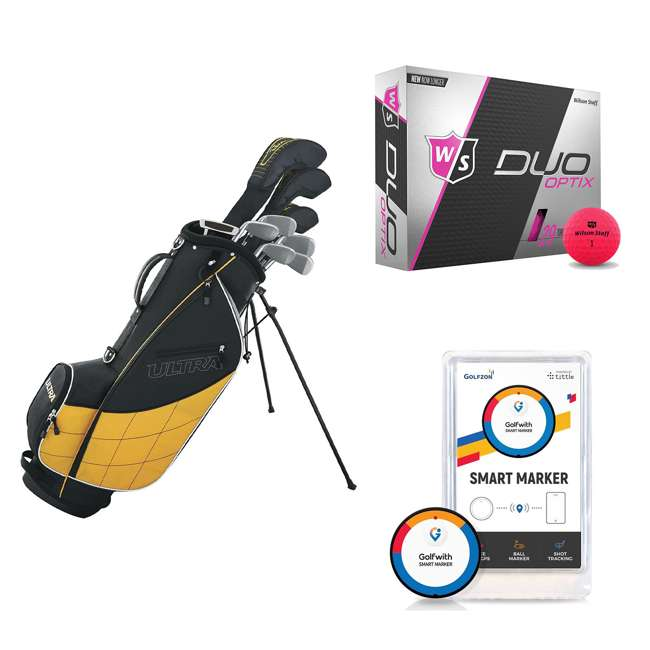 WGGC4300L + WGWP43500 + PGSMGps Wilson Men's Left-Hand Golf Clubs and Golf Balls and Golf Shot Distance Tracker