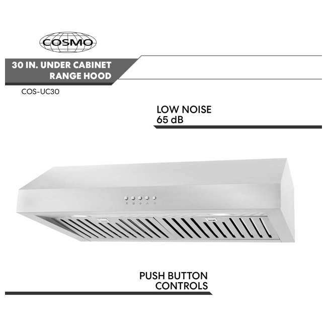 CSMO-UC30 Cosmo UC30 30-Inch Under-Cabinet Range Hood and Over Stove Vent Light, Silver 3