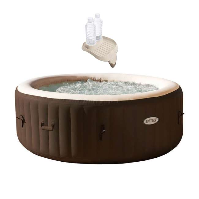 28403VM + 28500E Intex PureSpa Bubble Massage 4 Person Inflatable Hot Tub Spa and Cup Holder