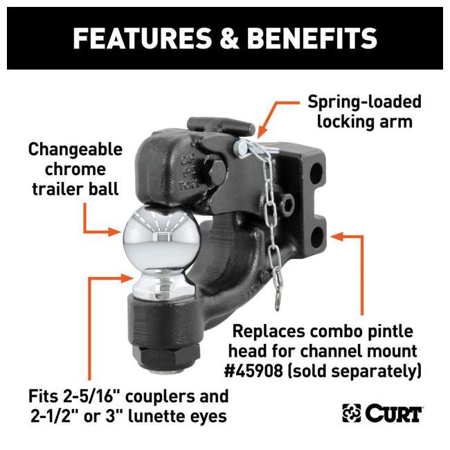 45922 Curt 45922 2 5/16 In 20K LB Replacement Channel Mount Ball & Pintle Combination 5