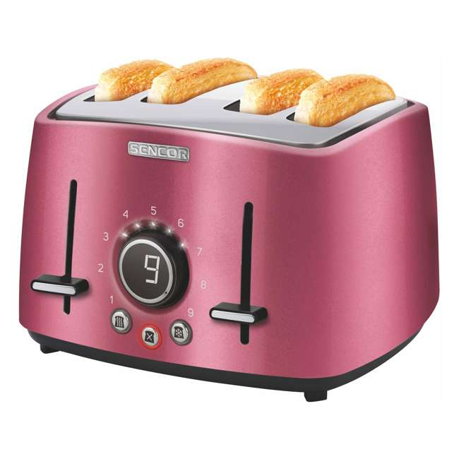 STS6074RD-NAA1 Sencor STS 6074RD Electric Wide 4 Slice High Lift Toaster w/ Rack, Metallic Red 1