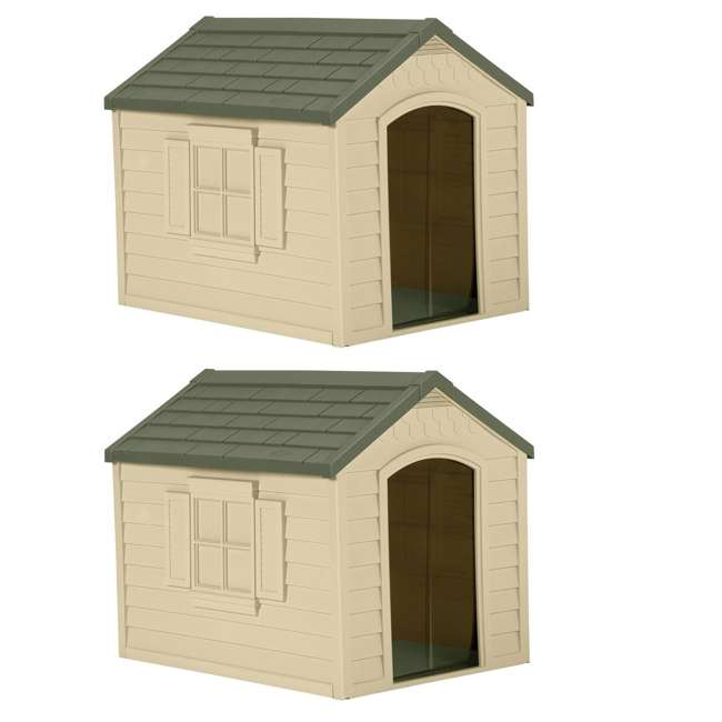 DH250 Suncast Durable Resin Snap Together Dog House with Removable Roof (2 Pack)