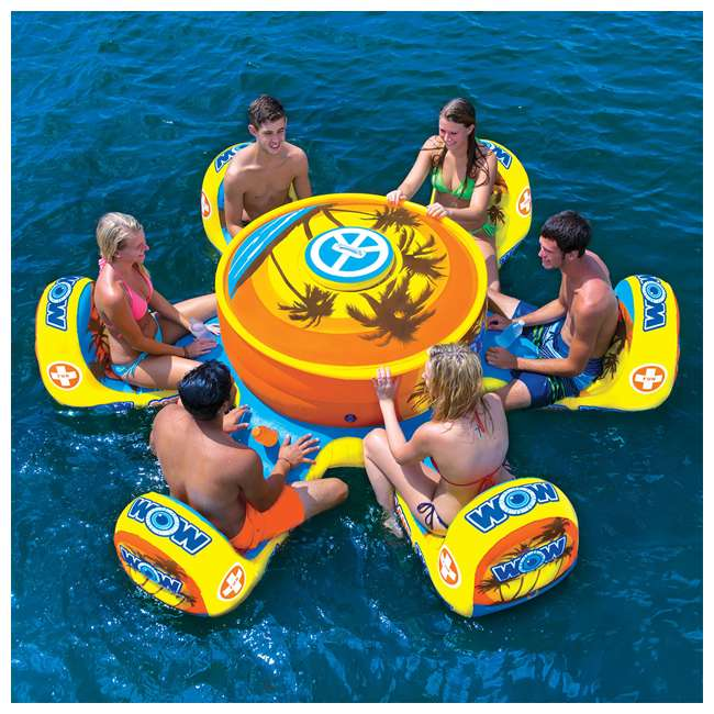 15-2010 WOW Watersports 15-2010 Octo Island 6 Person Pool Float with Cooler and Table 1