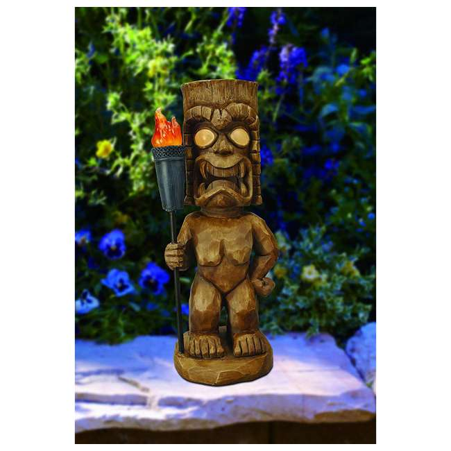 3 x 95960 Moonrays Outdoor 18.5 Inch Tiki Warrior Lawn Statue w/ Solar LED Light (3 Pack) 2