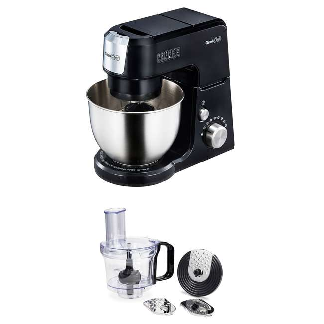 GM25B + GMFP Geek Chef GM25R 2.6 Quart 7 Speed Tilt Head Stand Mixer & Food Processor Chopper