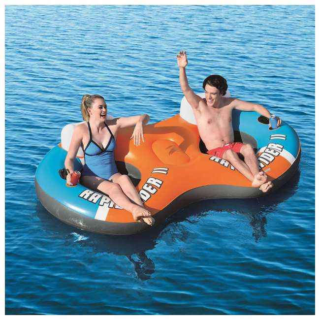 43116E-BW-NEW + 43113E-BW Bestway CoolerZ Rapid Rider River Tube Float & CoolerZ 2 Person River Raft Tube 10