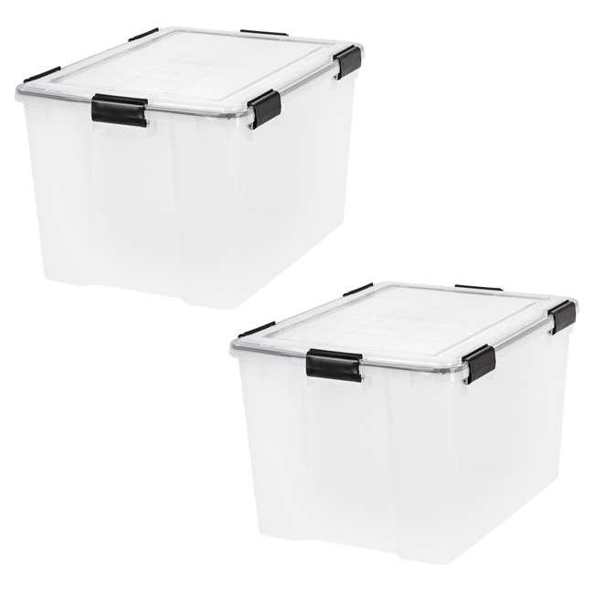 110586 IRIS USA Weathertight 74 Quart Buckle Down Storage Latch Box Container (2 Pack)