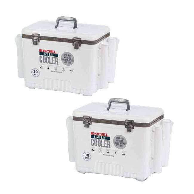 LBC30-RH Engel 30-Quart Bait Dry Box and Cooler with Rod Holders (2 Pack)