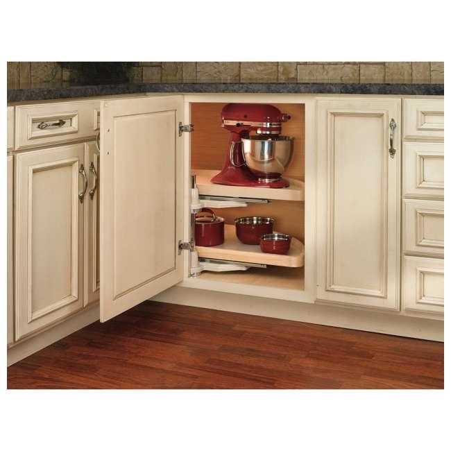 4WLS882-35-570 Rev-A-Shelf 4WLS882-35-570 35 Inch Wooden Cabinet 2 Shelf Lazy Susan, Half Moon 1