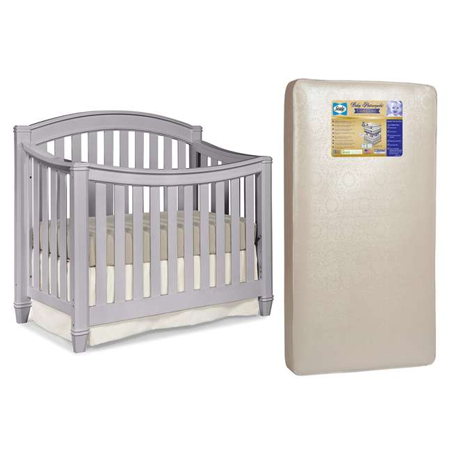 04565-30F + EM642-PHN1 Thomasville Kids Highlands Crib, Pebble Gray & Sealy Posturepedic Mattress