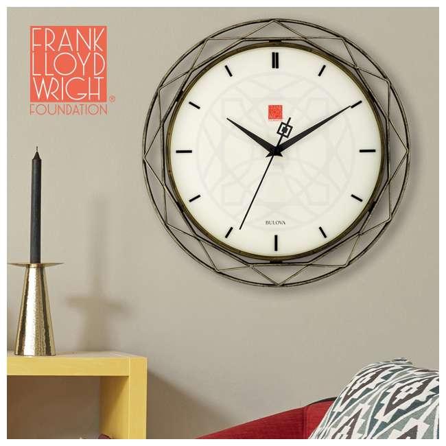 C4834 Bulova Clocks C4834 Luxfer Prism 14 Inch Frank Lloyd Wright Inspired Wall Clock 1