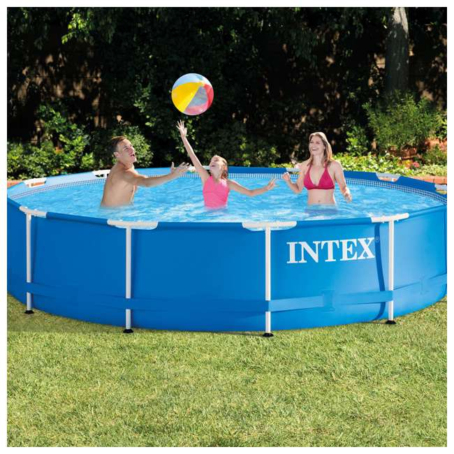 "28211EH + 12 x 29000E Intex 12' x 30"" MetalFrame Round Pool (2 Pack) & Replacement Cartridge (12 Pack) 8"