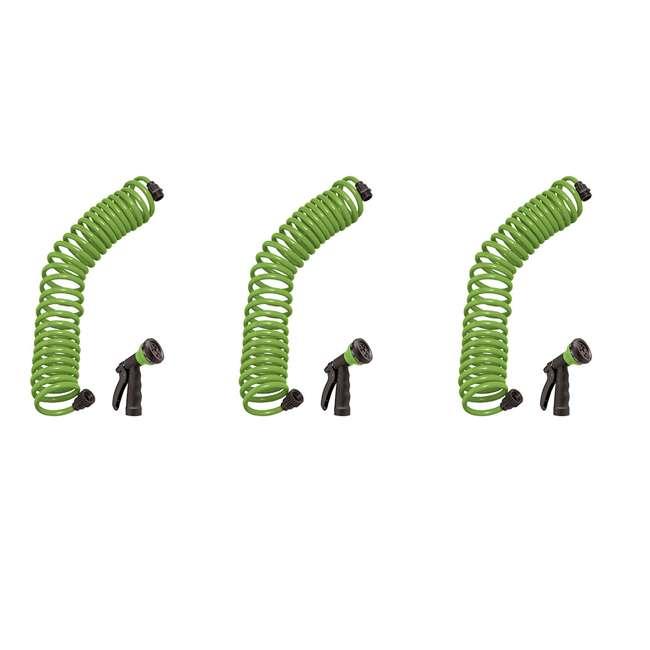 3 x ORBIT-26380 Orbit 25-Foot Green Coil Garden Hose w/ 8 Spray Patterns (3 Pack)