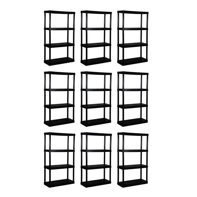 9 x GL91021MAXIT-1C-36 Gracious Living 4-Tier Resin Garage Storage Shelf, Black (9 Pack)