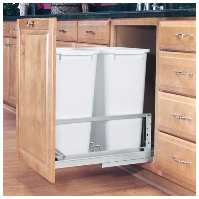 5349-2150DM-2 Rev-A-Shelf 5349-2150DM-2 Double 50 Quarts Undermount Pull-out Waste Container 1