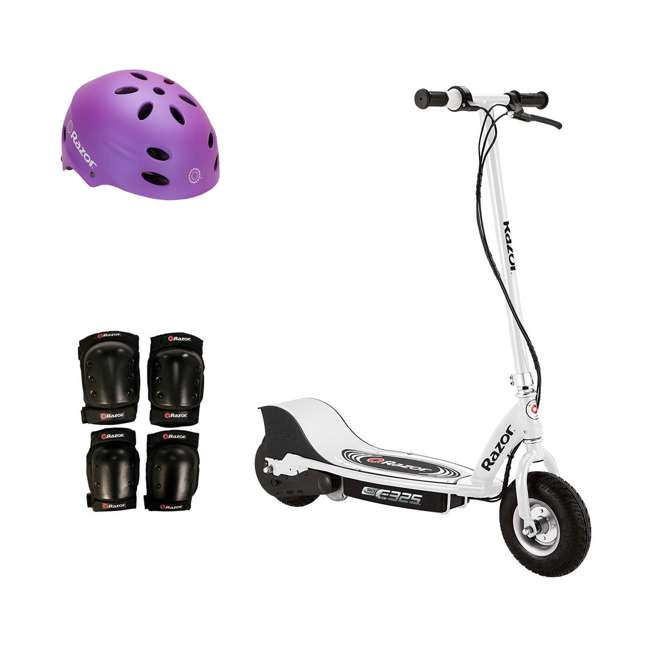 13116310 + 97961 + 96785 Razor E325 Electric Battery 24V Ride On Scooter, Helmet, & Elbow & Knee Pad Set