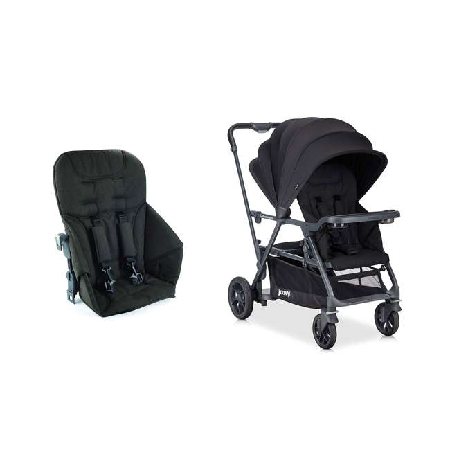8207 + 9107 Joovy Caboose S Stroller with Canopy, Black Melange + Caboose Add On Rear Seat