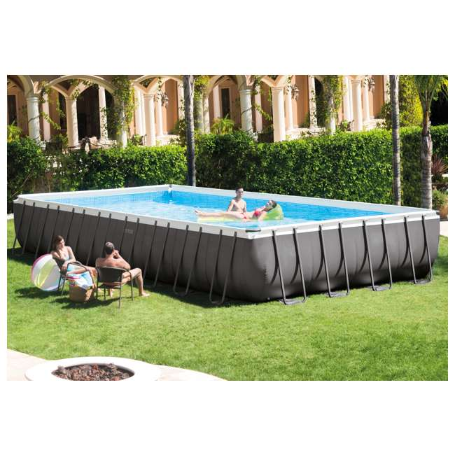 28375EH Intex 32 x 16 x 4.3 Foot Ultra Frame Pool Set with Cleaning Kit 1