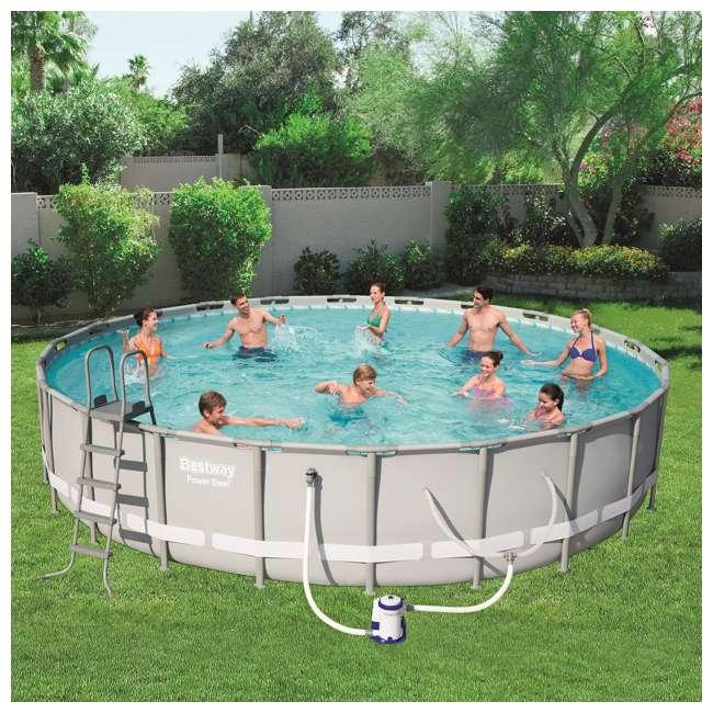 56392E-BW + 58422E-BW Bestway Power 22 x 4.3 Foot Swimming Pool w/ Pump & Filter & Bestway Pool Vacuum 3