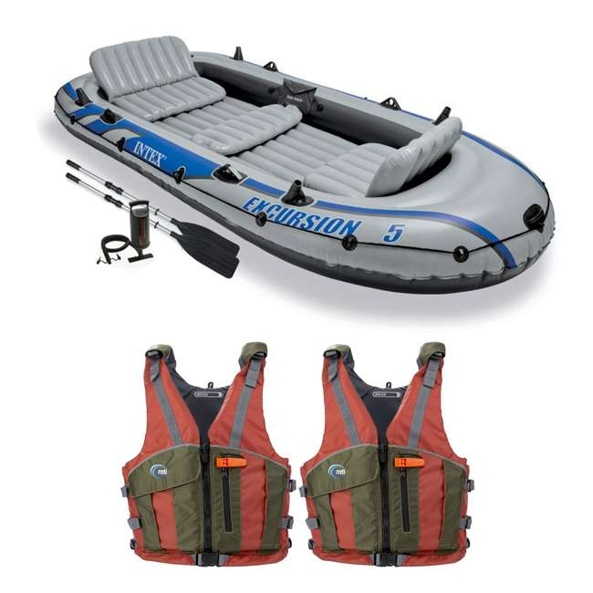 68325EP + 2 x MTI-702I-0RG45 Intex Excursion Inflatable Raft, 2 Oars and 2 Life Jackets, M/L