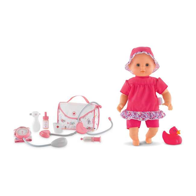 FRV09 + 100130 Corolle Mon Grand Poupon Toy Pediatrician Doctor Set w/ Waterproof Baby Doll