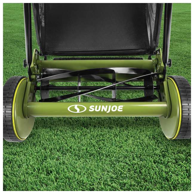 "SUJ-MJ501M-U-B Sun Joe Manual Reel 18"" Push Behind Lawn Mower w/ Grass Catcher, Green (Used) 7"