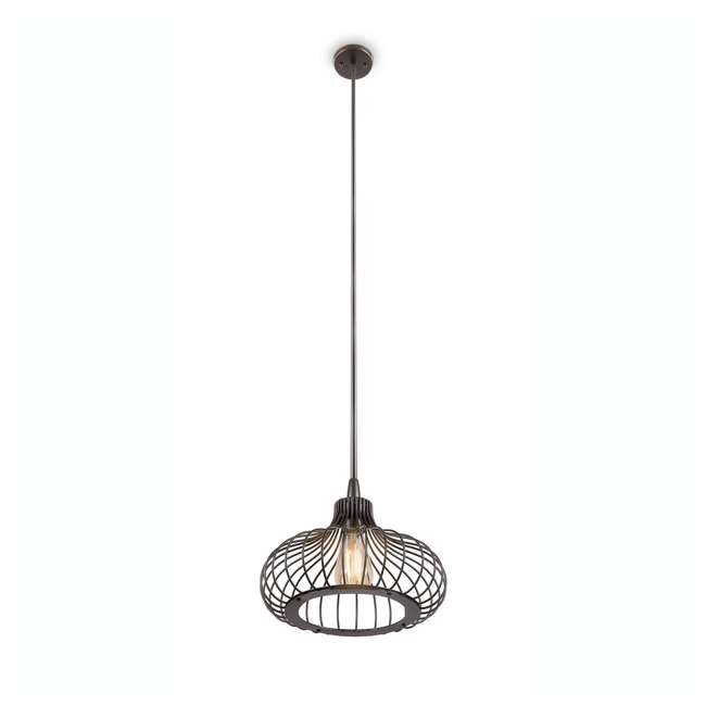 "PLC-4110502U9-U-A Philips 12"" Gabbia Glass Suspension Light Pendant, Oiled Bronze (Open Box)"