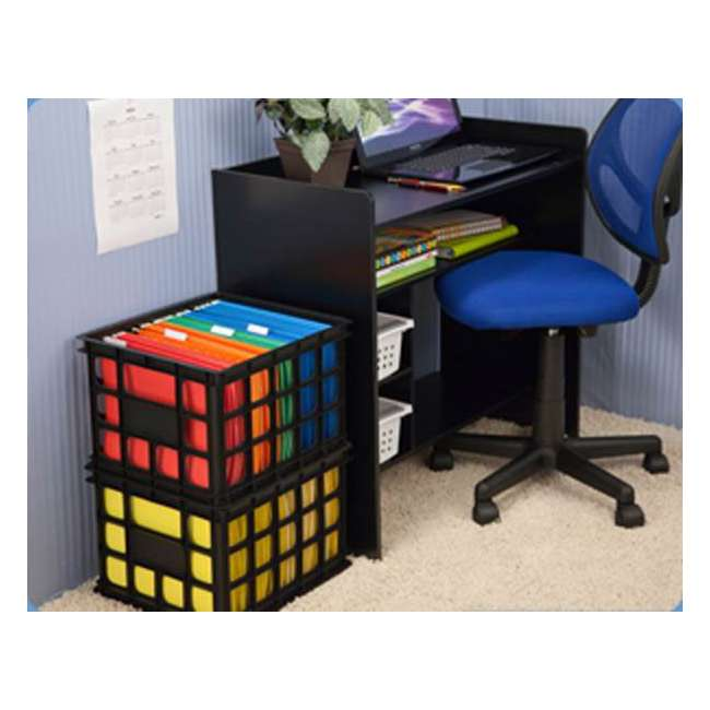 18 x 16929006-U-A Sterilite 16929006 Plastic Black Storage Box Crate - Single (Open Box) (18 Pack) 3