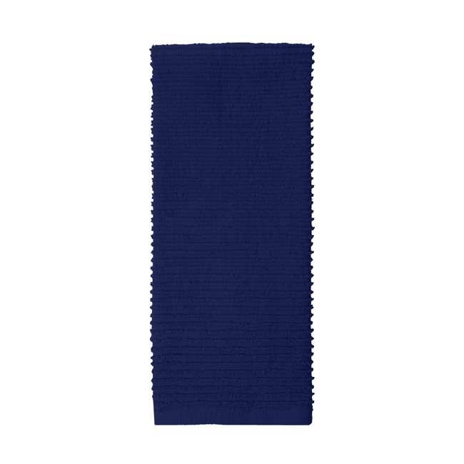 9459-1955 MU Kitchen 9459-1955 Set of 1 Ridged Cotton Dishcloth and 2 Dish Towels, Blue 1