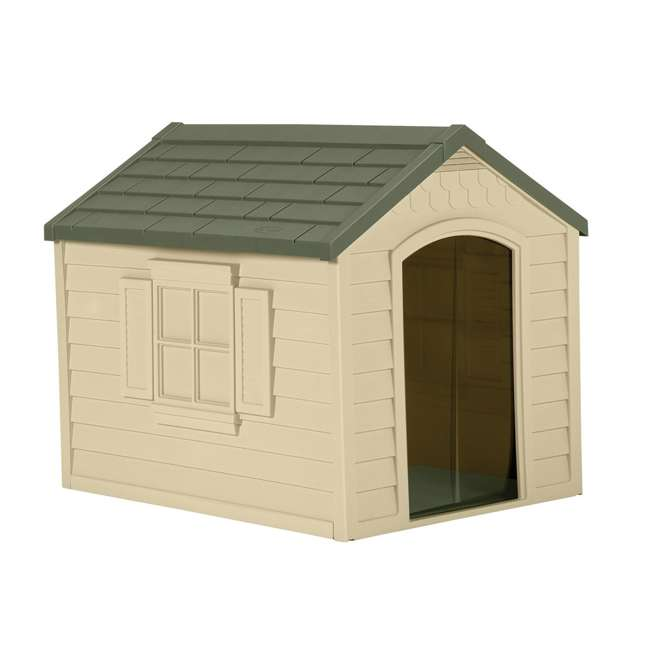 DH250-U-A Suncast Durable Resin Snap Together Dog House w/ Removable Roof, Brown(Open Box)