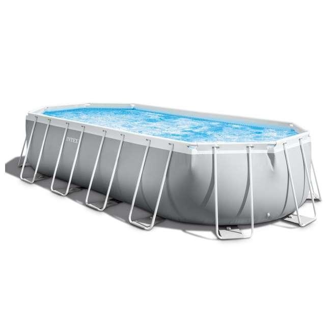 26797EH-U-B Intex 20ft x 10ft x 48in Prism Frame Oval Pool Set Ladder, Cover, Pump (Used)
