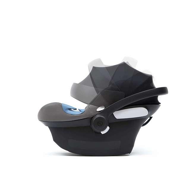 518002089 Cybex Aton M Newborn Infant Baby Car Seat with SafeLock Base, Lavastone Black 3