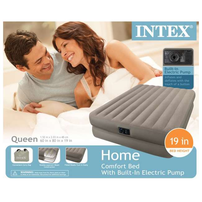 66709E + 5200029 INTEX Queen Raised Airbed with Pump & Blanket Cover 8