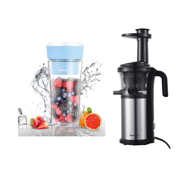 GPB30 + GSC36 Geek Chef 10Oz Portable Cordless Rechargeable Blender & Electric Juice Extractor