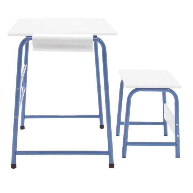 38022 Studio Designs Homeroom 2 Piece Art Table & Bench Set w/ Paper Roll, Blue/White 3