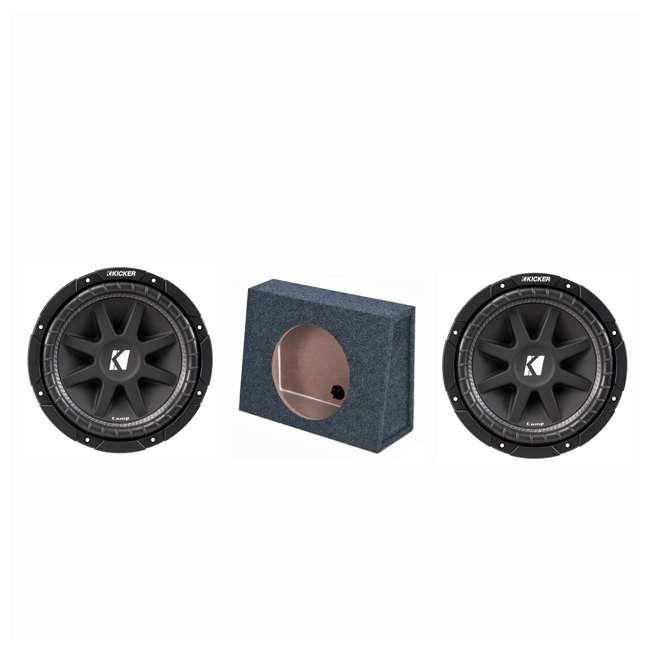 """TW12-SINGLE + 43C124 Q Power 12"""" Subwoofer Box Enclosure (2 Pack) & KICKER 12"""" Subwoofer"""