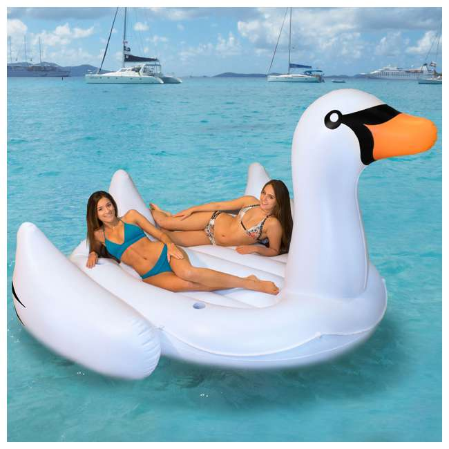 6 x SL-19671-U-A Swimline Giant Swan Inflatable Ride On Pool Float Raft, White (Open Box)(6 Pack) 4