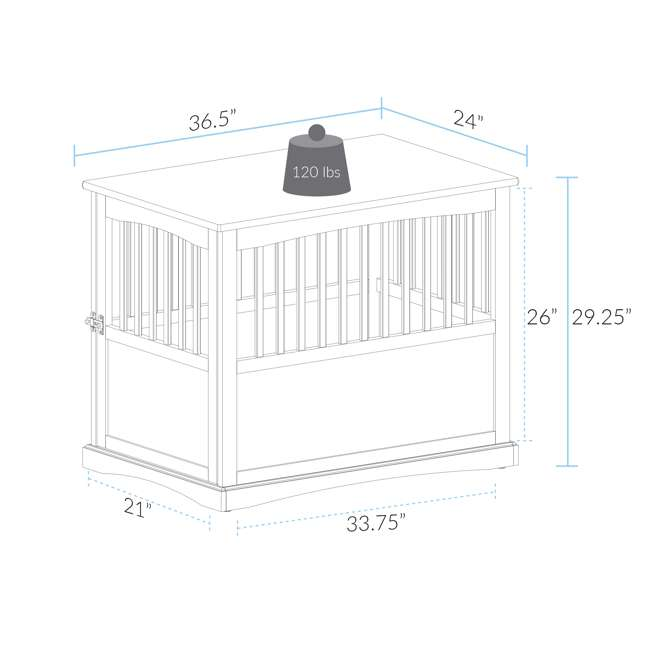 600-22 Casual Home Large Pet Crate End Table, Black 5