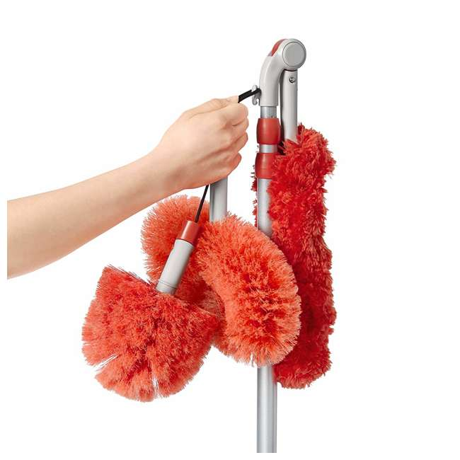 12183600 OXO Good Grips 3-In-1 Extendable Long Reach Microfiber Dusting System, Orange 1