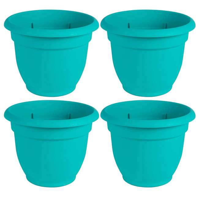 4 x AP1627 Bloem Ariana 16 Inch Indoor & Outdoor Self Watering Planter Pot, Blue (4 Pack)